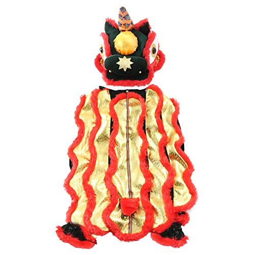Dance Hosen Kostüm Lion - GLZKA Haustier Kostüm lustige Kleidung Hund Lion Dance Kleid Vierbeiner bequem lässig für den täglichen Partyurlaub Fotoshootings,S