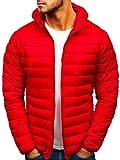 BOLF Herren Übergangsjacke Steppjacke Daunenjacke Sportjacke Freizeitjacke Kapuze Reißverschluss Street Style J.Style LY1001 Rot XL [4D4]