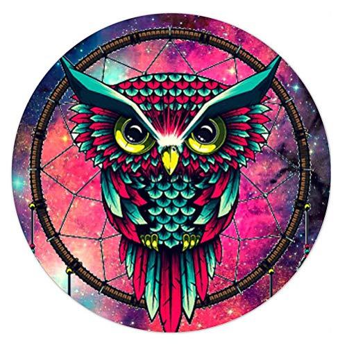 usepad Rutschfeste Gummi-Gaming-Mauspad Runde Mauspads für Computer Laptop-Bunte Galaxy Owl Dream Catcher ()