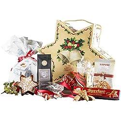 Cesta Navideña Gourmet - Cesta de Regalo con Panettone Italianos, Chocolate y Productos típicos de Navidad - La Stella di Natale