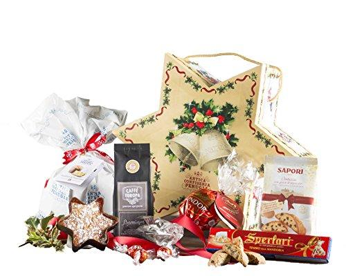La stella di natale - cesto natalizio con panettone artigianale, cioccolato e prodotti tipici di natale