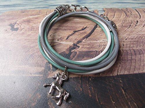 Zink-mädchen (Handmade Mädchen/ Kinder Echt Leder Wickel Armband, Mint Grün/ Weiß/ Grau mit Pferde Anhänger)
