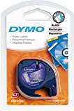 Dymo S0721550 LetraTag Plastic Tape, Self-Adhesive, 12 mm x 4 m Roll - Black Print on Clear