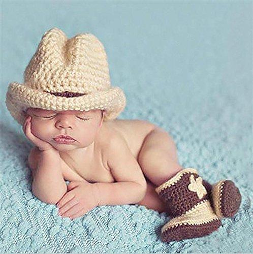PEPEL Fotografie Prop Baby Säugling schöne Cowboy Crochet gestrickt Kostüm Mütze Schuhe , light gray (Baby Cowboy Kostüm Muster)