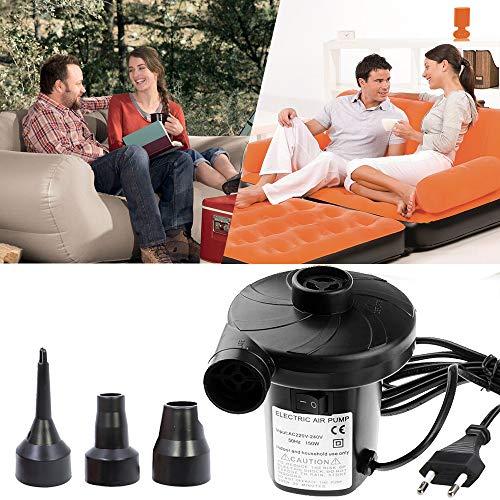 Lambony Elektrische Luftpumpe, 150 W, elektrisch, mit 3 Düsen für Matratze, Camping, Bett, Boot, Kissen -
