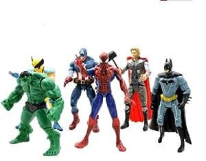 Yao Design Lot de 6 figurines Avengers Hulk Loki Steve Rogers/Captain America Anthony Stark/Iron Man Thor Natasha Romanoff/Veuve noire 15 cm