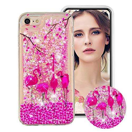 Flüssig Hülle für iPhone SE/5S/5, Obesky Bling Glitzer Treibsand Handyhülle Transparent Weiche TPU Silikon Schutzhülle mit Flamingo Muster Kreativ für Apple iPhone 5/5S/SE Iphone 5 Tier