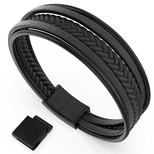 Armband Herren Männer Leder Edelstahl - anbina Armband geflochten mit Magnetverschluss und Adapter Unisex in schwarz -