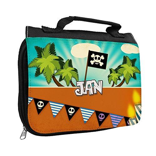 Kulturbeutel mit Namen Jan und Piraten-Motiv für Jungen | Kulturtasche mit Vornamen | Waschtasche für Kinder