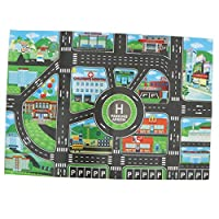 perfeclan 83 x 58cm Large City Traffic Play Mat with Vivid Detail and Bold Colors - for Kids Imaginative Play