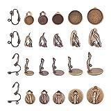 PandaHall 50pcs 5 Größen Antik Bronze Messing Clip-on Ohrhaken Cabochon Einstellung Lünette Komponenten 10pcs Clip-on Ohrring Konverter mit Easy Open Loop für Nicht durchbohrte DIY Ohrstecker