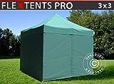 Dancover Tente Pliante Chapiteau Pliable Tonnelle Pliante Barnum Pliant FleXtents Pro 3x3m Vert, avec 4 cotés