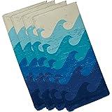"E By Design 19"" X 19"" Deep Sea Blue Geometric Print Napkin"