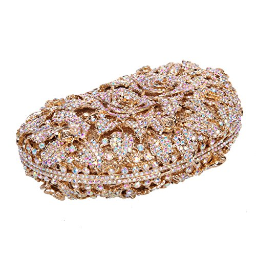 Bonjanvye Glitter Studded Rhinestone Rose Clutch Purse for Wedding Party Gold AB Gold