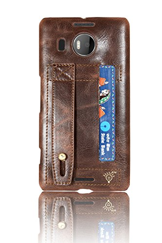 Parallel Universe Nokia Lumia 950XL Back Cover Case Handmade Leather backcover with Multipurpose Strap - Brown