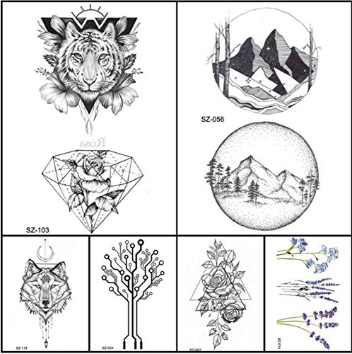 ruofengpuzi Mode Bleistift Skizze Tattoo Männer Aufkleber Geometrische Temporäre Tätowierung Tiger Diamant Frau Arm Gefälschte Tätowierung Runde Berg ()