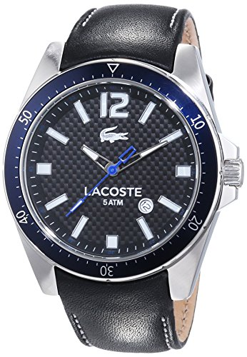 Lacoste Men's Quartz Watch with Black Dial Analogue Display Quartz Leather 2010751