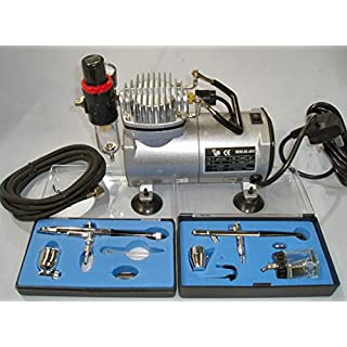RDGTOOLS COMPLETE AIRBRUSH KIT (2 AIRBRUSHES + COMPRESSOR + HOSE)