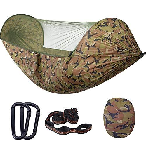 KiGoing Camping Hängematte mit Moskitonetz für 1-2 Person,Ultra-Licht Atmungsaktiv, Schnell Trocknende Fallschirm Nylon Camping Hängematte für Trekking, Reise, Strand, Garten