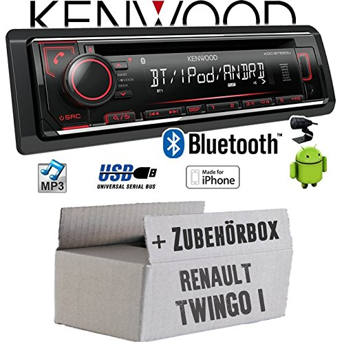 Renault Twingo 1 - Autoradio Radio Kenwood KDC-BT520U - Bluetooth CD/MP3/USB - Einbauzubehör - Einbauset