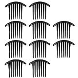 Vococal® 10 Stk Frauen Lady Kunststoff 7-Zähne Haare Bun Steckkämme Kamm-Pin-Zubehör, Schwarz