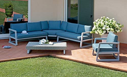 Gruppo maruccia divano angolare per reception hotel e ristoranti in alluminio con poltrona e tavolino salotto per arredare gli spazi esterni
