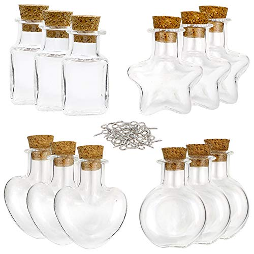 Outuxed 32 Stück 10ml Mini Glasflaschen mit Korken in 4 Formen mit 32 Klauennägel