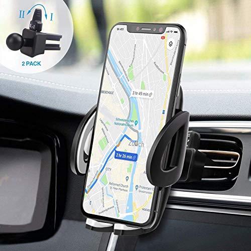 IZUKU Handyhalter fürs Auto Handyhalterung Auto 2 St. Klammer Smartphone Halterung KFZ Kratzschutz mit einer 2 Klammer für die Lüftung Handyhalterung Auto Lüftung Universal für iPhoneSamsungSonyHuawei