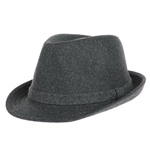 (WITHMOONS Fedora Hut Bogarthut Mafiahut Wool Felt Fedora Hat Simple Classic Monochrome Band SL6449 (Charcoal))