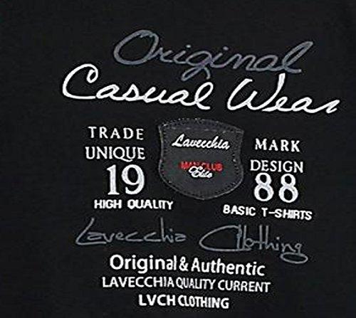 Schwarzes Herren T-Shirt von Lavecchia in großen Größen von 3XL 4XL 5XL 6XL 7XL 8XL Schwarz