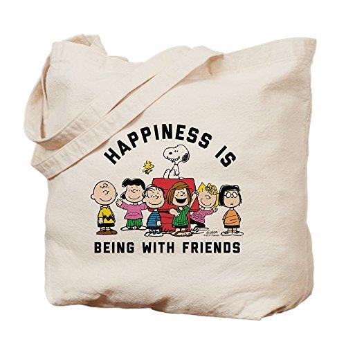 CafePress–Peanuts Felicidad es amistad–Gamuza de bolsa de lona bolsa, bolsa de la compra, lona, caqui, Medium