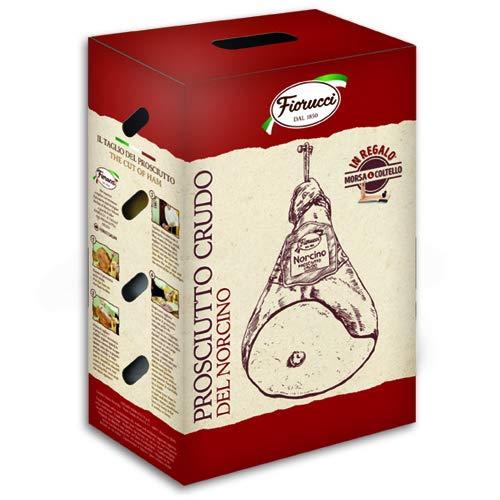 Fiorucci prosciutto crudo del norcino intero con osso in confezione regalo con morsa e coltello in omaggio - 6.25 kg