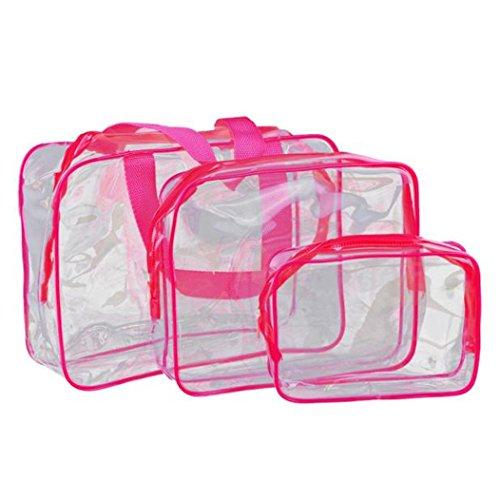 Fami Donne Travel Must-trasparente Materproof Cosmetic Pouch Wash vasca da bagno (Rosa (Strumenti Di Cucina Caso Del Pacchetto)