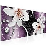 Bild 100 x 40 cm - Lilien Bilder- Vlies Leinwand - Deko für Wohnzimmer -Wandbild - XXL Teile - leichtes Aufhängen- 801012c