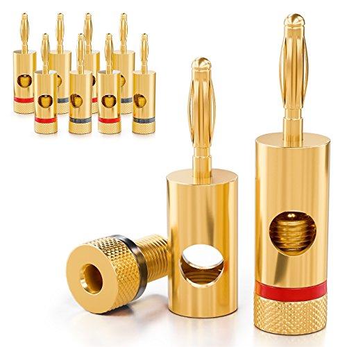 deleyCON 10x Bananenstecker 24K vergoldet und schraubbar für Kabel Boxen Verstärker AV-Receiver Endstufen HiFi Stereoanlagen
