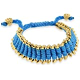 Heart U Back Blue and Gold Colour Base Metal Dog Bone Friendship Bracelet