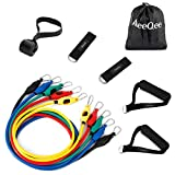 Widerstand Bands Set, MeeQee Fitnessbänder Tube Set [bis zu 150 lbs] 11-Teilig Resistance Bands Training, Physiotherapie, Home Fitnessraum Workouts Fitness Yoga