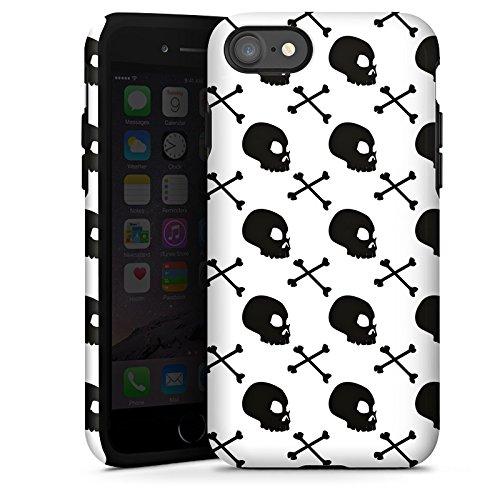 Apple iPhone X Silikon Hülle Case Schutzhülle Totenköpfe Schwarz-Weiß Muster Tough Case glänzend