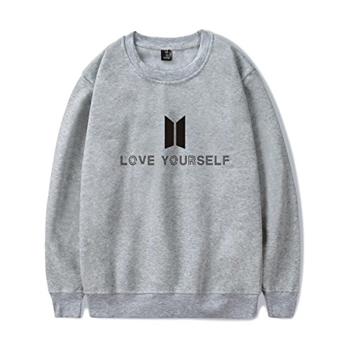 SIMYJOY Amants KPOP Pulls BTS Love Yourself Sweat Collège Hip Hop Sweat Shirt Pour Hommes Femmes Adolescents gris Jung Kook 97