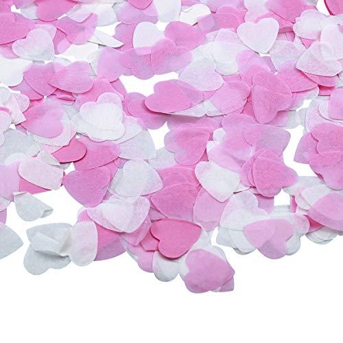 Natuce 1 Zoll Konfetti Tissue, 6000 Stück Runde & Herzen Konfetti Seidenpapier für Hochzeit, Geburtstag, Baby Duschen, Abschlussfeier, Zeremonie Party Dekorationen (Rosa)