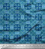 Soimoi Grun Baumwolle Batist Stoff Fliesen marokkanisch Stoff Meterware 42 Zoll breit