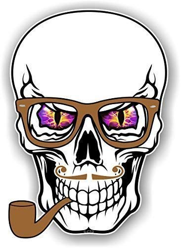 Hipster Style Skull Design mit lila Evil Augen Brille und Rohr Neuheit Auto-Aufkleber Vinyl Aufkleber 100x 70mm