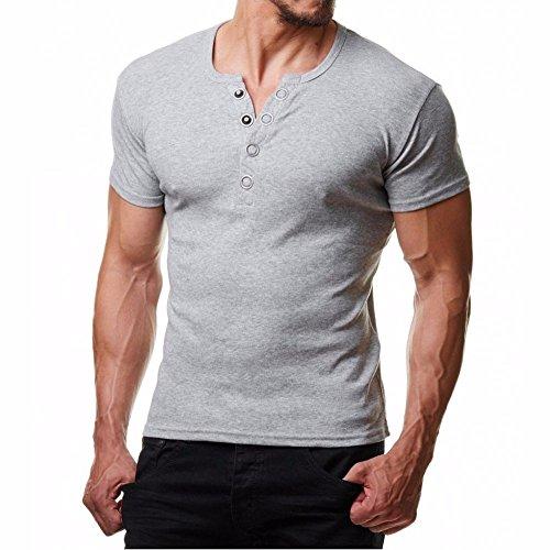 Herren Kurzarm Shirt, Sunday Kurze Mode Männer Knopf Bluse Kurzarm Fit Pullover Shirt Solid Top Mode T-Shirt Sommer Strand (XL, Grau) (Langarm-knopf-front-shirt)