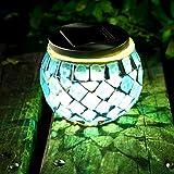 LEDMOMO Solarbetriebene Mosaik Glas Ball LED Gartenleuchten Outdoor Solar Tischlampen