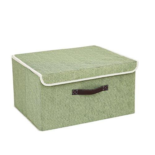 THEE Aufbewahrungsbox Stoffkiste Ablagebox Schlafzimmer Accessoire-Organizer Aufbewahrungskasten mit Deckel Grün