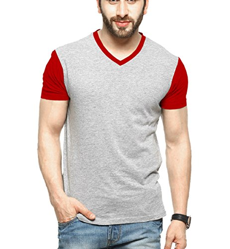 Tripr-Mens-V-Neck-Tshirt-Grey-Red