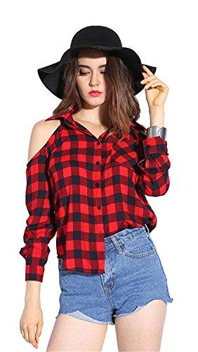 Braune Cut-out (Dioufond Damen Kariert Langarm Bluse Cold Shoulder Cut Out Loose Fit Knöpfverschluss Hemd Frühling/Sommer Casual Lässig Schulterfrei Shirt(S, ClassicRot))
