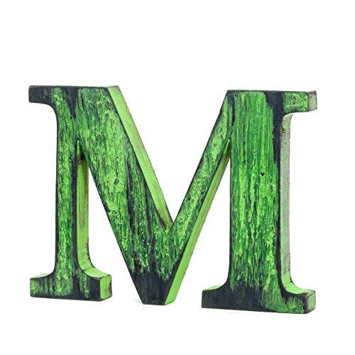 Shabby Chic m Free-Standing Letra del alfabeto de madera vintage grand