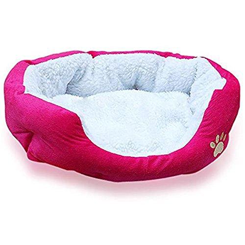 Yihya Carina Ovale Forma Calda Morbido Interno Pet Puppy Grotta Animali Casa Evello Peluche Cane Gatto Gattino Letto Bed Casa Basket con Asportabile Nest Pad Mat - Rosso / Grande: 46*42cm - Bed Kennel