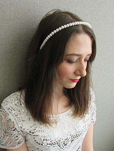 Gatsby Girl Kleid (Weiß Perle Haarband 1920er Mädchen Great Gatsby Fancy Kleid Haar Band y96Stil der)